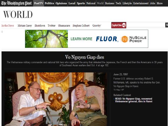 Tin tướng Giáp mất trên Washington Post. Ảnh: từ màn hình
