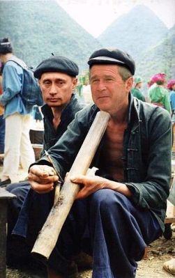 Bush va Putin hút thuốc lào. Ảnh minh họa