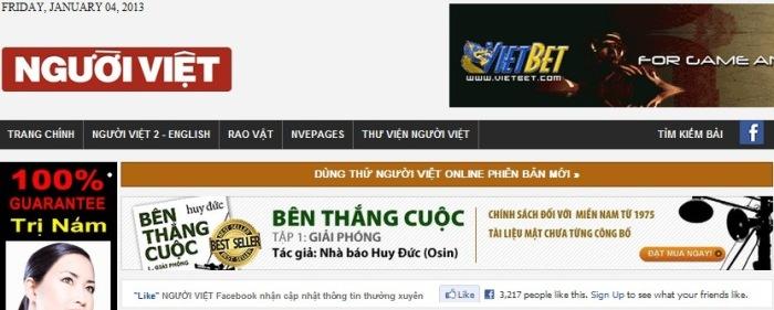 Quảng cáo bên thắng cuộc trên Người Việt Online