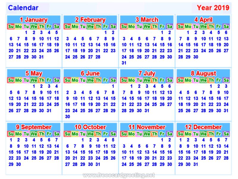 Lịch năm 2019