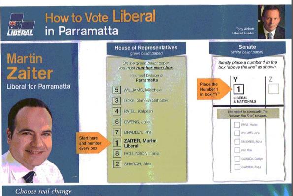 Hướng dẫn bỏ phiếu cho một đảng. Ảnh: Tác giả cung cấp