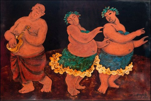 Điệu múa Hawaii. Tranh: Tim Nguyen