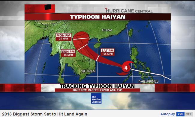 Đường đi của siêu bão Hainyan. Ảnh: Weather.com