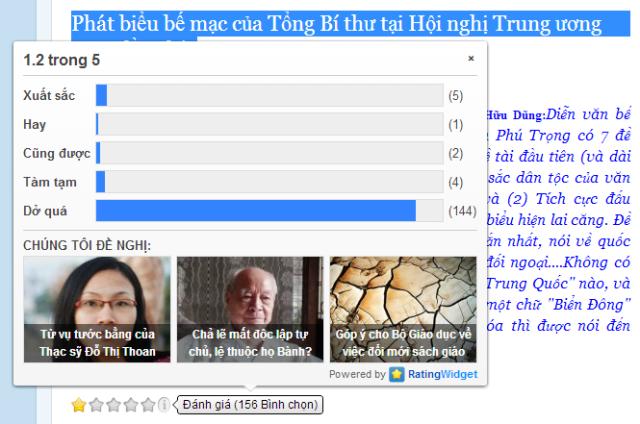Bạn đọc Quê Choa đánh giá  phát biểu của TBT. Ảnh: chụp từ màn hình 15-5-2014