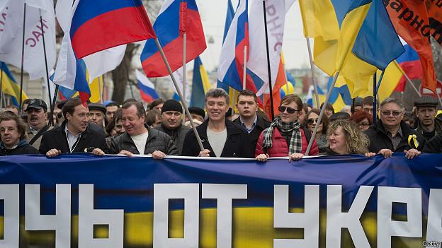 Phản đối xâm lược Ukraine. Ảnh: BBC