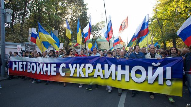 Dân Moscow biểu tình. Ảnh: BBC